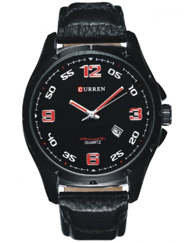 Black Leather Wrist Watch for Men - 8121