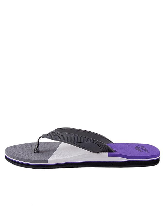 Grey Synthetic Flip Flops for Men