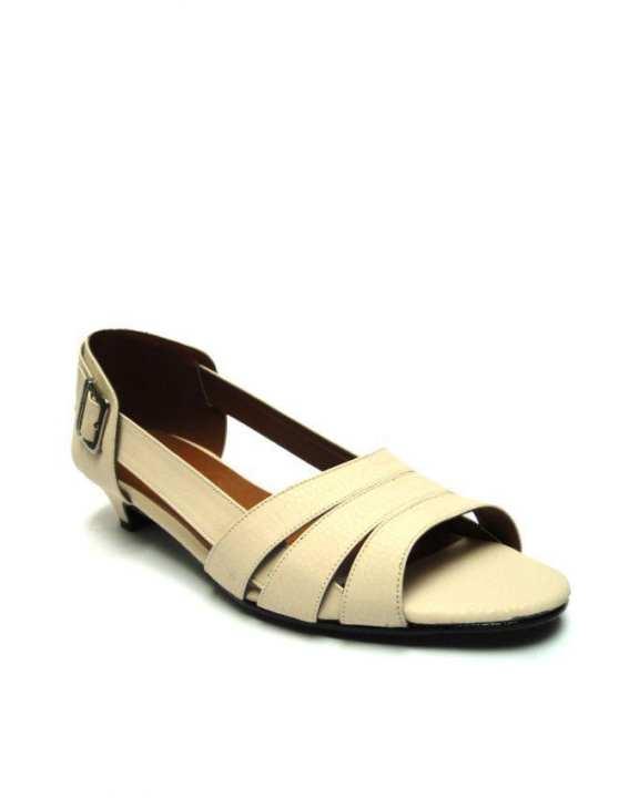 Off White Open Toe Slide On Heels - European Size