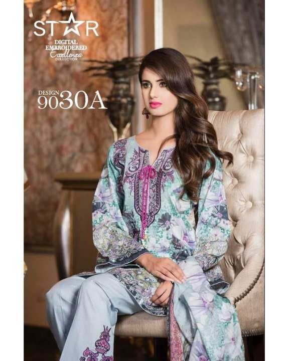 Grey Embroidered Lawn Unstitched Suit for Women 3 Pcs 9030-A