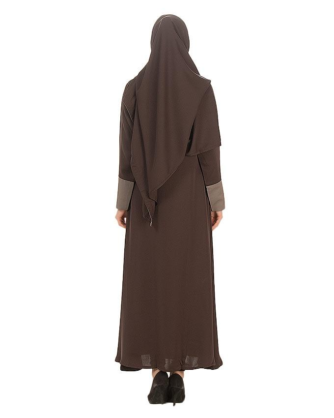 Brown Polyester Fabric Abaya For Women - 0120-R-832