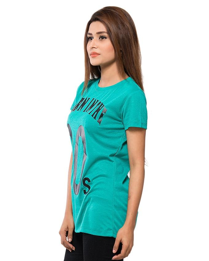 Green Blended Cotton Printed T-Shirt for Women