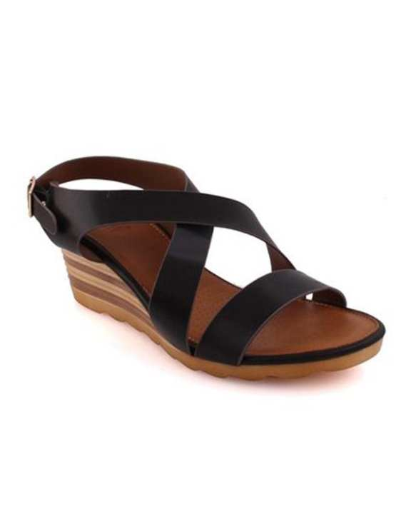 Black PU Leather Tanysha Low Heel Wedge Sandals for Women - L29532