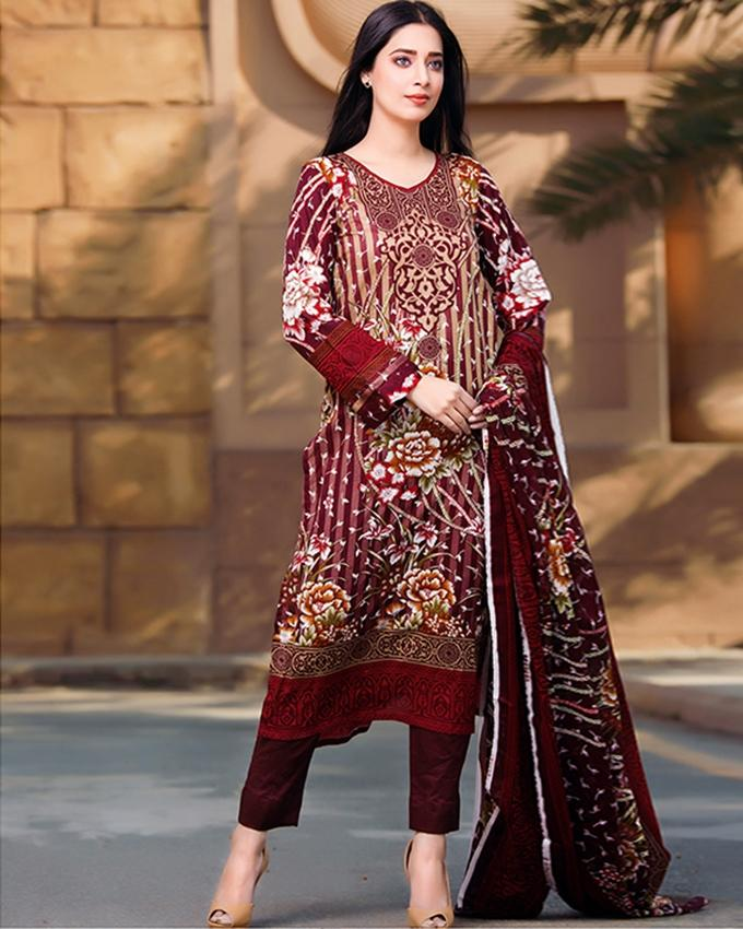 a82467fe92 Maroon Lawn Unstitched Suit For Women - 3 Piece - 4067-A