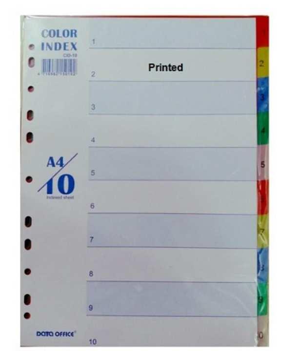 Plastic Separator A4, 1-10 Printed - Multicolour - Cid-10