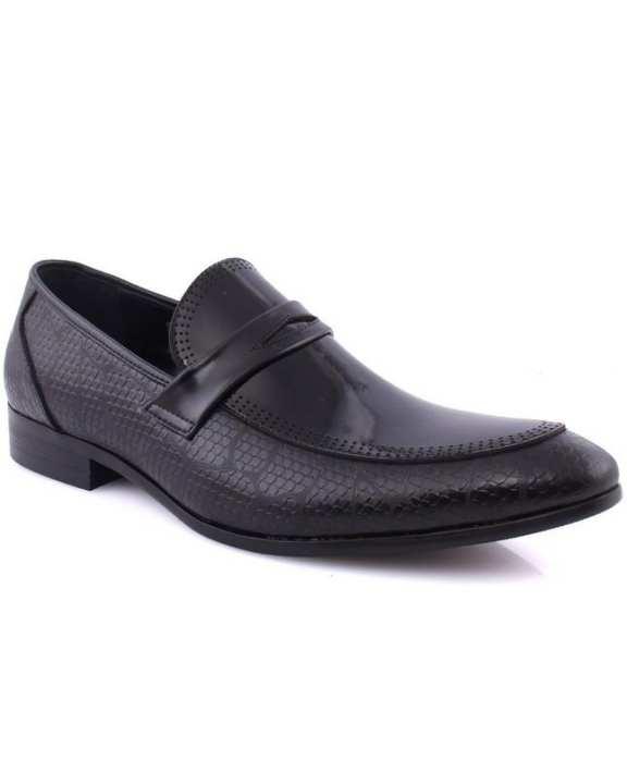 "Black Men's ""CRUZ"" Textured Evening Formal Shoes"