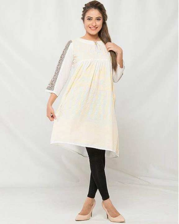White Cotton Printed Plates Frock for Women
