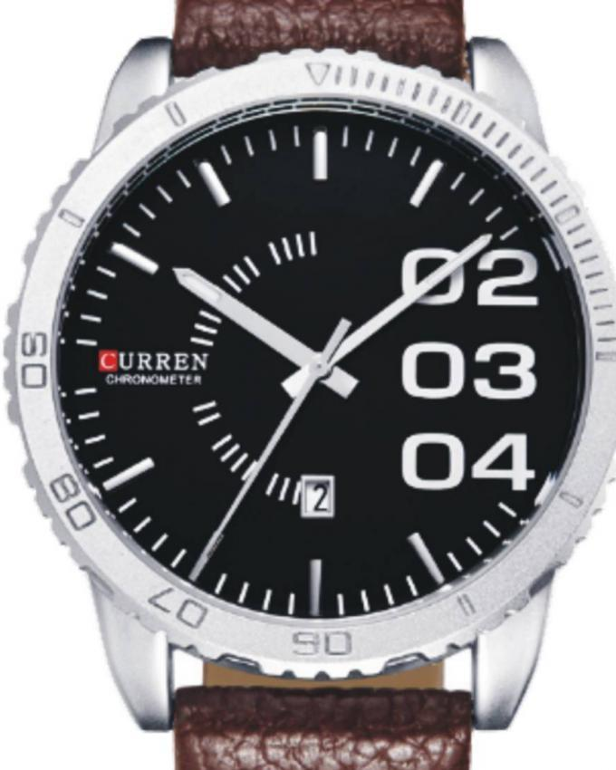 8125 - Black Leather Analog Watch for Men