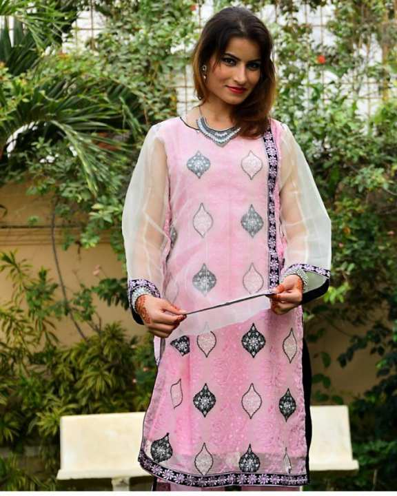 Light Pink Pure Chiffon Full Embroidered 2 Pc Suit