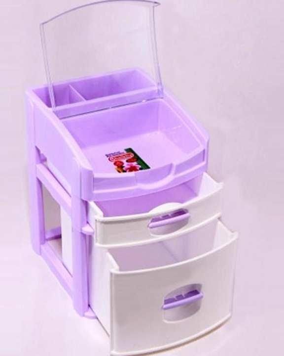 Desktop 3 Drawer Makeup Organizer - White and Purple