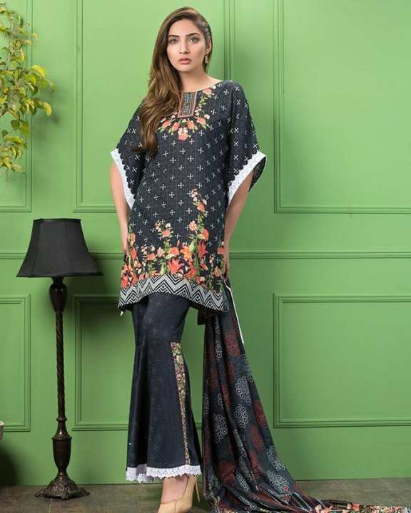 Black  Printed 3Pcs- Unstitched  Lawn For Women