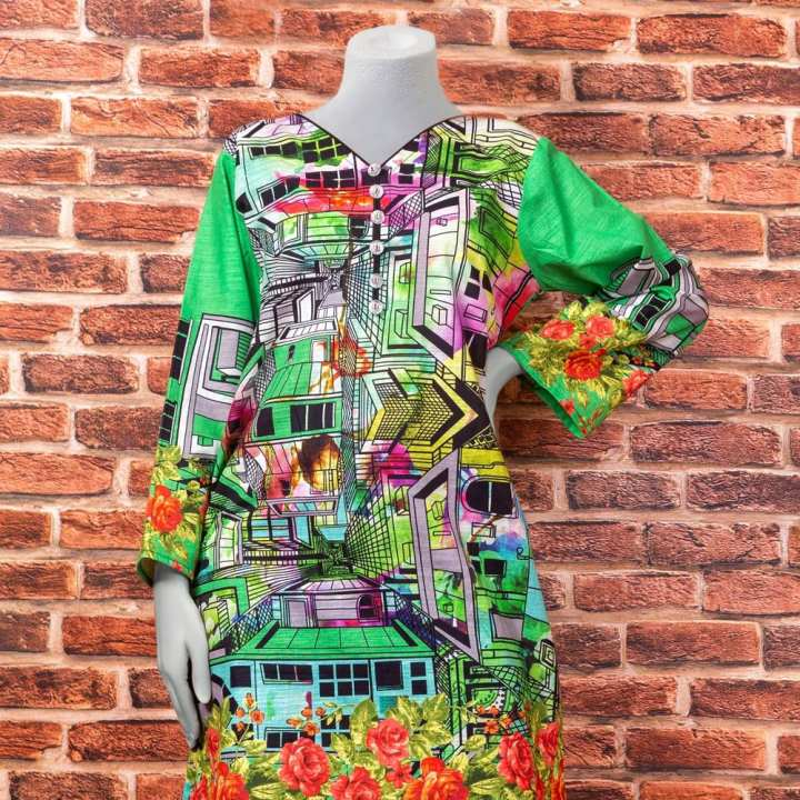 Eminent Digital Printed Khaddar Unstitched Winter Kurti - Green City by Chase Value Centre