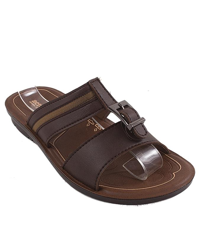 Soft Brown Synthetic Leather Slipper For Boys