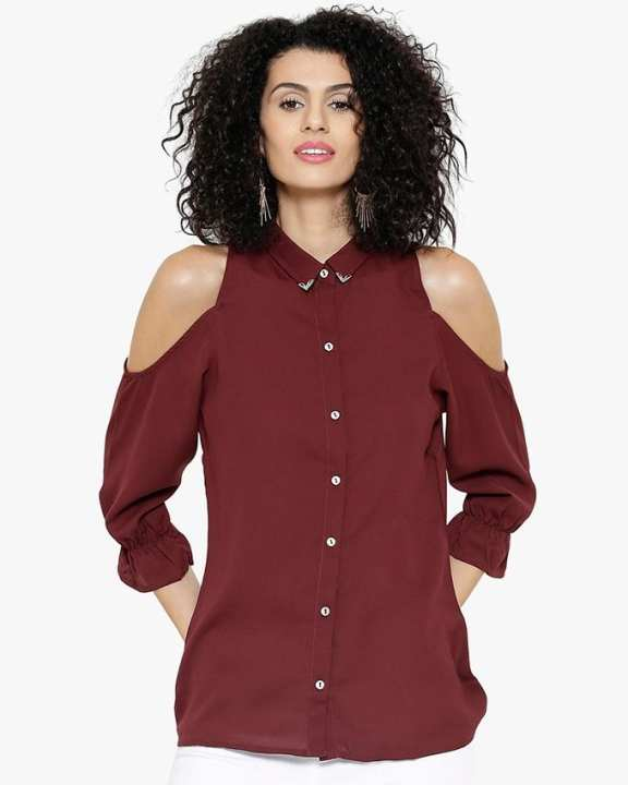 Solid Maroon Chiffon Cold Shoulder Top for Her - SI-658