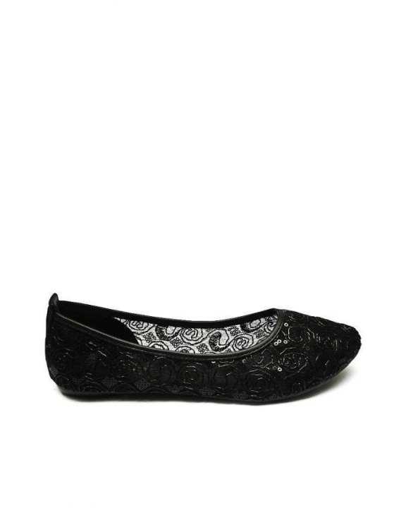 Platinum Black Net Design Ballerina Flats - European Size