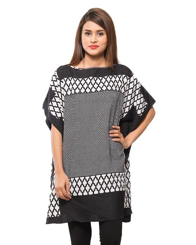 Black & White Polyester Printed Twill Fabric Poncho for Women - PON09-06
