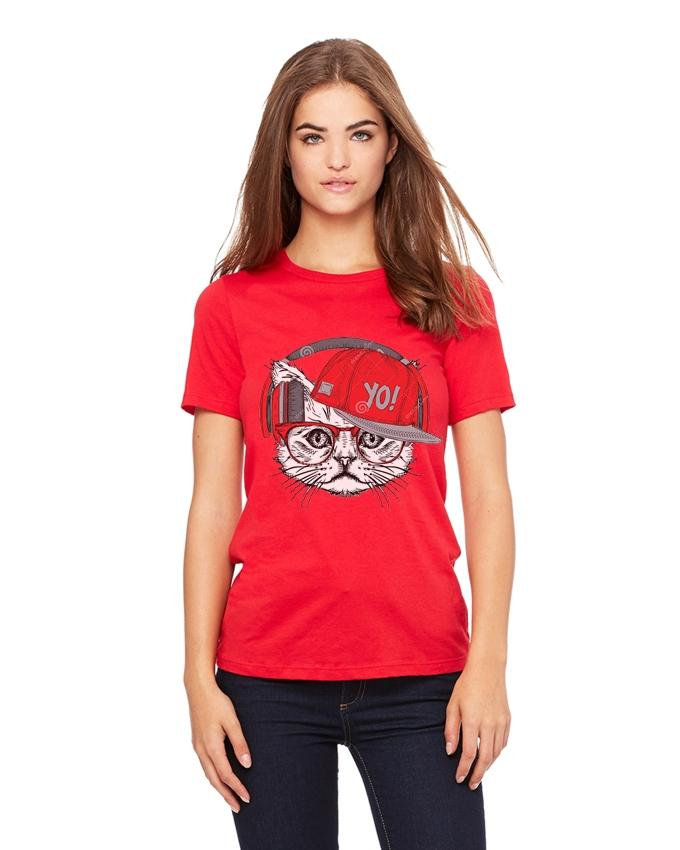 Red Cotton Cat Printed T-Shirt for Women - Ace-025