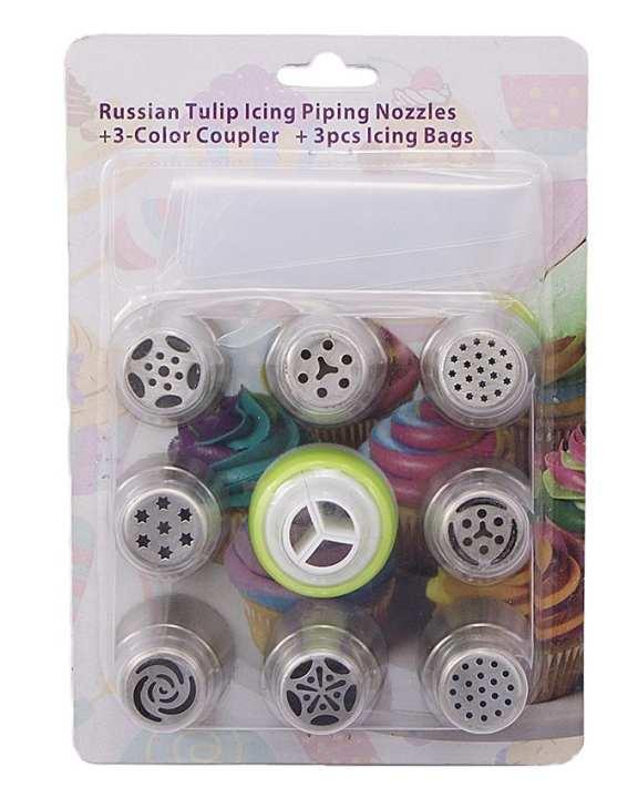 8 Pcs Russian Nozzles + 3-Colour Coupler + 3 Pcs Icing Bag