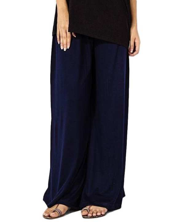 Navy Blue Jersey Palazzo Pants For Women