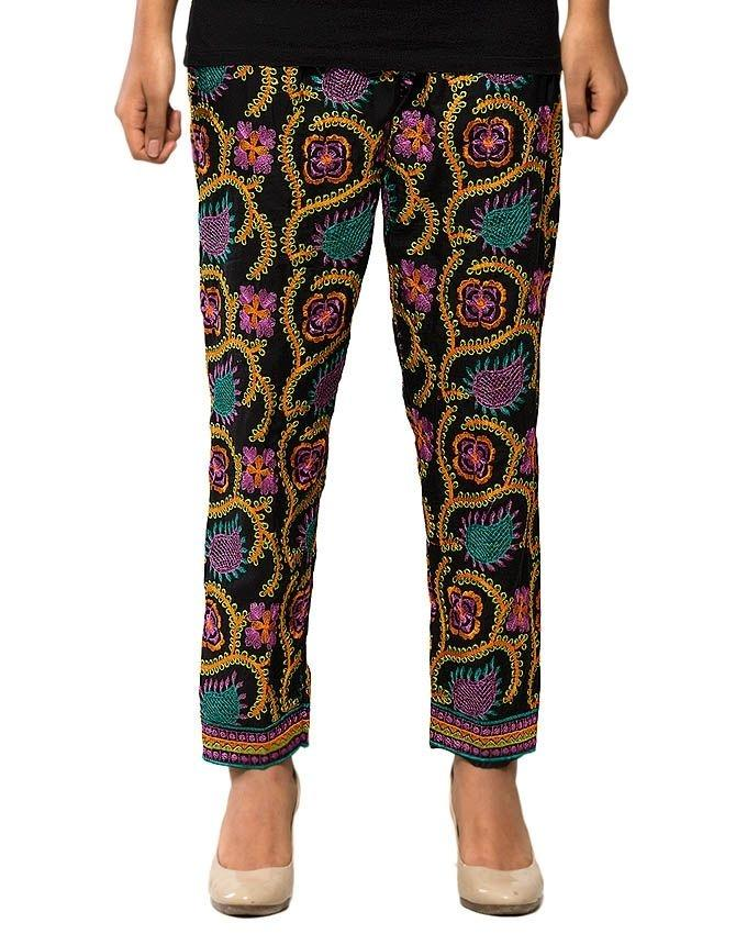 Black Boski Phulkari Trouser for Women