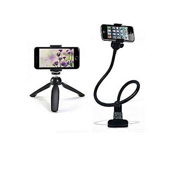 Pack of 2 - Universal Mobile Phone Holder +  YT multi functional adjustable stand for all mobile phones and camera