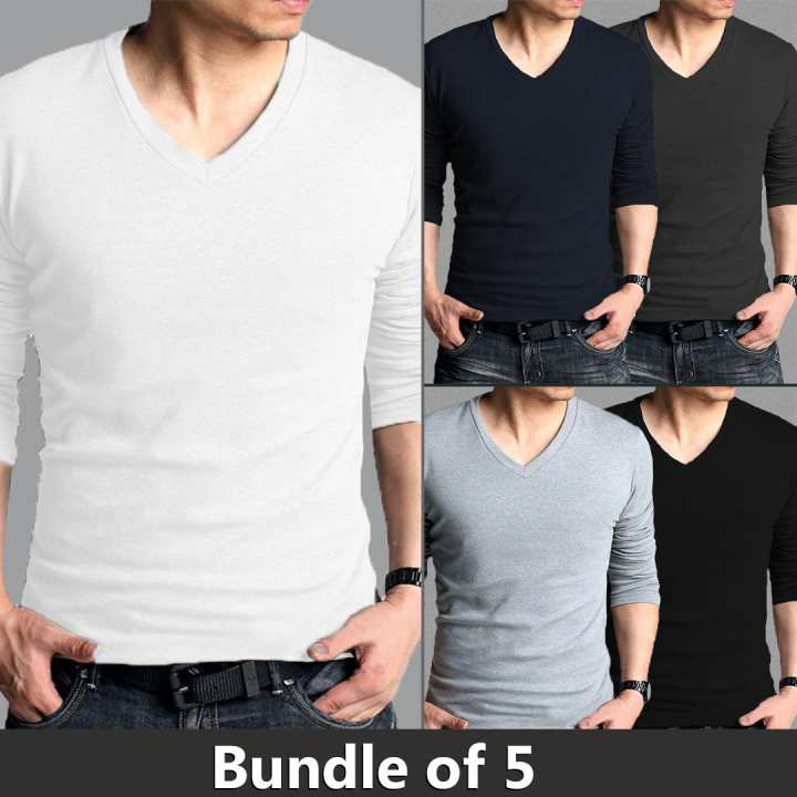 Bundle of 5 V Neck Full Sleeves Shirts