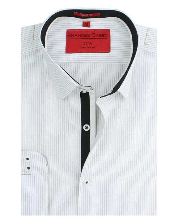 Off White & Black Cotton Regular Fit Shirt For Men
