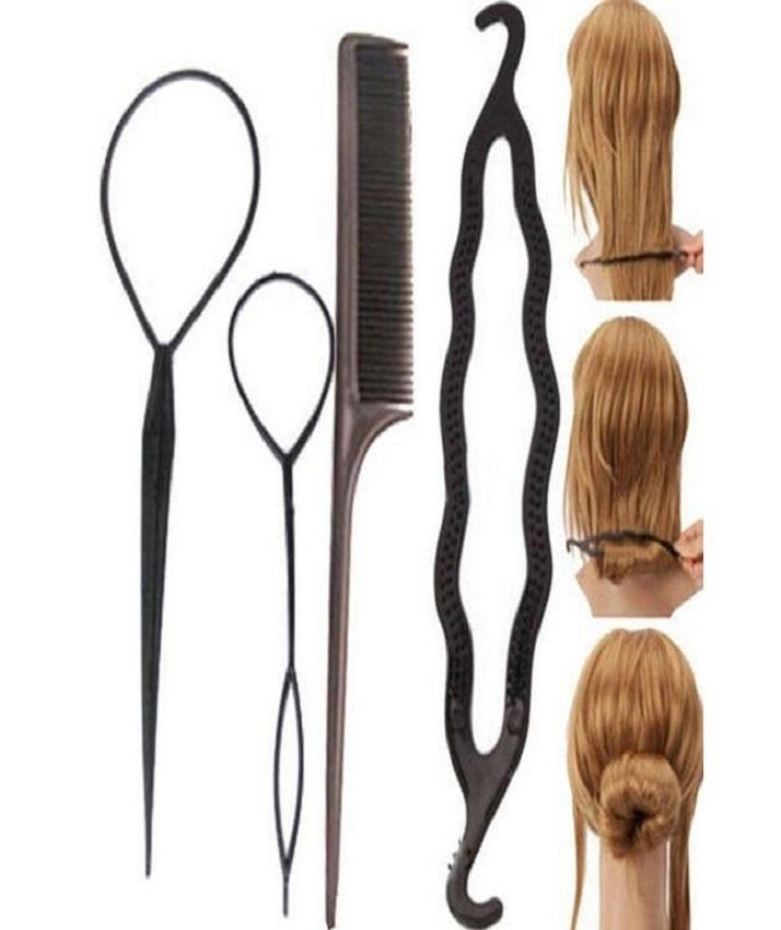 Pack Of 4 - Hair Twist Styling Clip Stick Bun Maker Braid Tool - Black