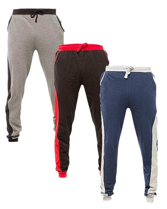 (Navy Blue,Grey And Red)  Cotton Pack Of 3 Trousers For Men
