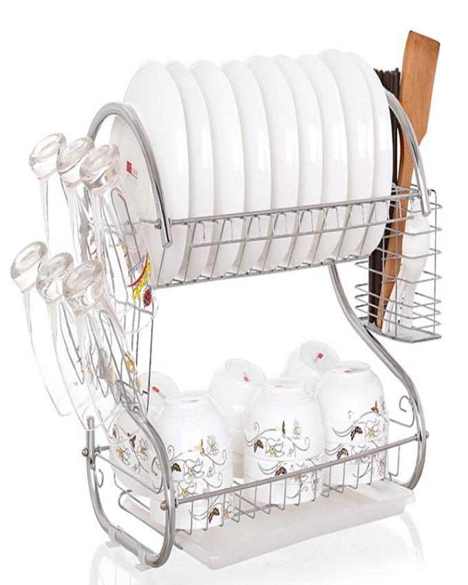 2 Layer - Kitchen Dish Drainer Chrome Plated -  Silver