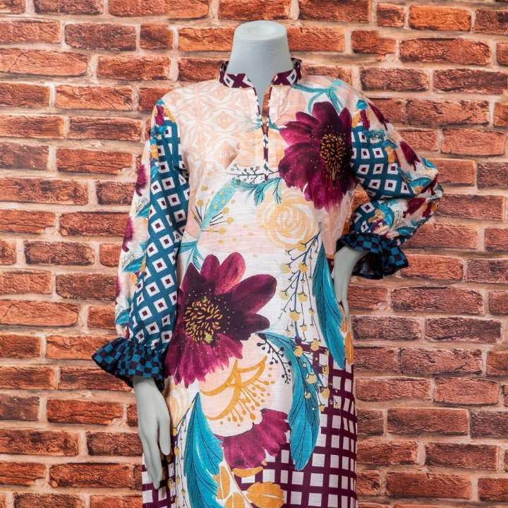 Eminent Digital Printed Khaddar Unstitched Winter Kurti - Printed Flower by Chase Value Centre