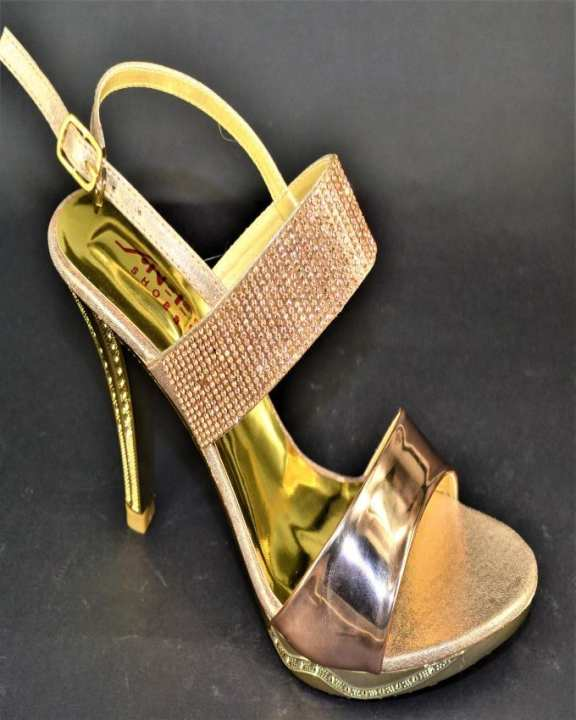 Champagne Rexine, Metal Heel And Stone Work Heel For Women - ANEE136