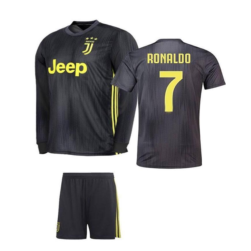 brand new 1a61c b775d Juventus 3rd Third Kit 2018 2019 Jersey Long Sleeve & Short Black for Men