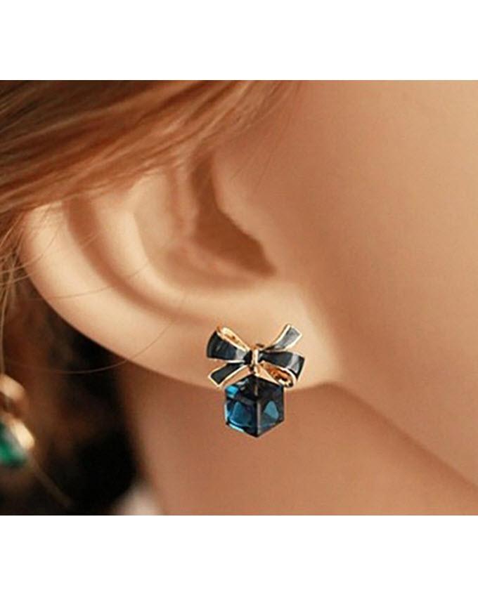 Bow-Knot Cube Crystal Earrings - Blue