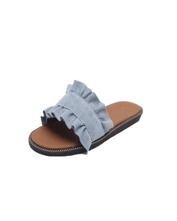 Denim Blue Denim Slide Shoes For Women