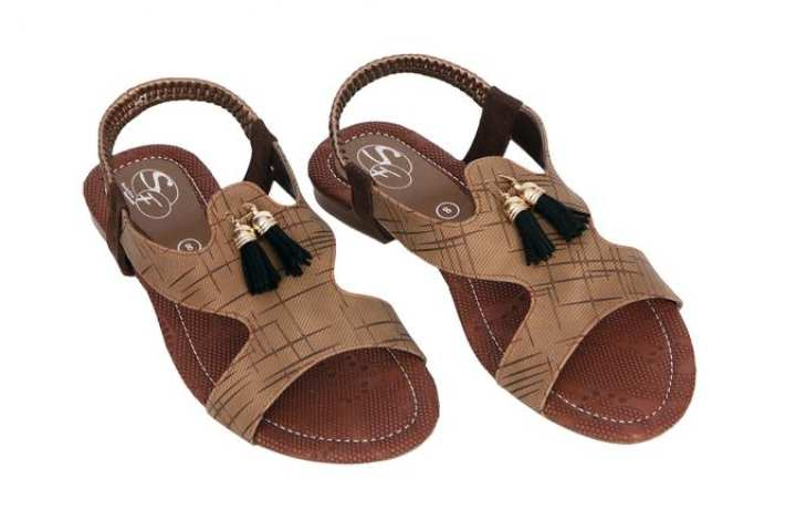 Brown Rexine Sandals For Women