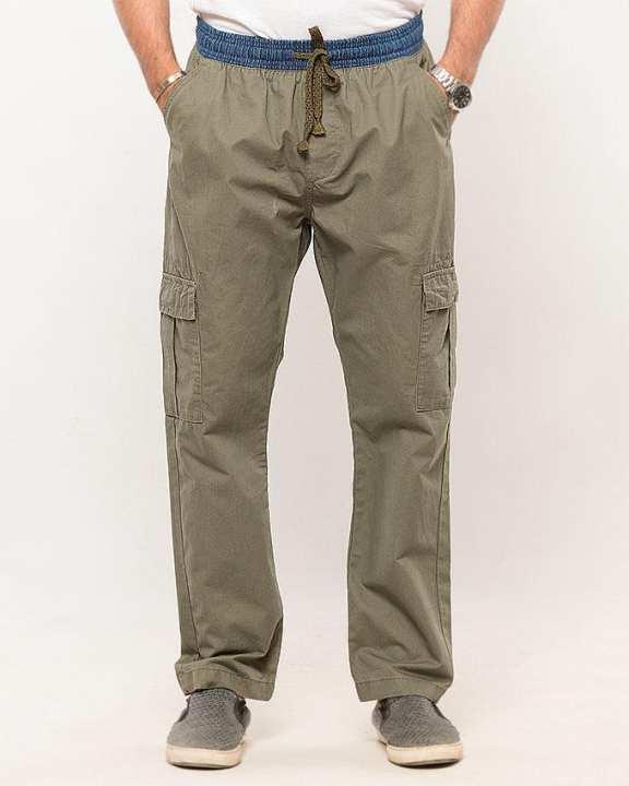 IGNITE Olive-Cotton Cargo Pants-Regular Fit for Men