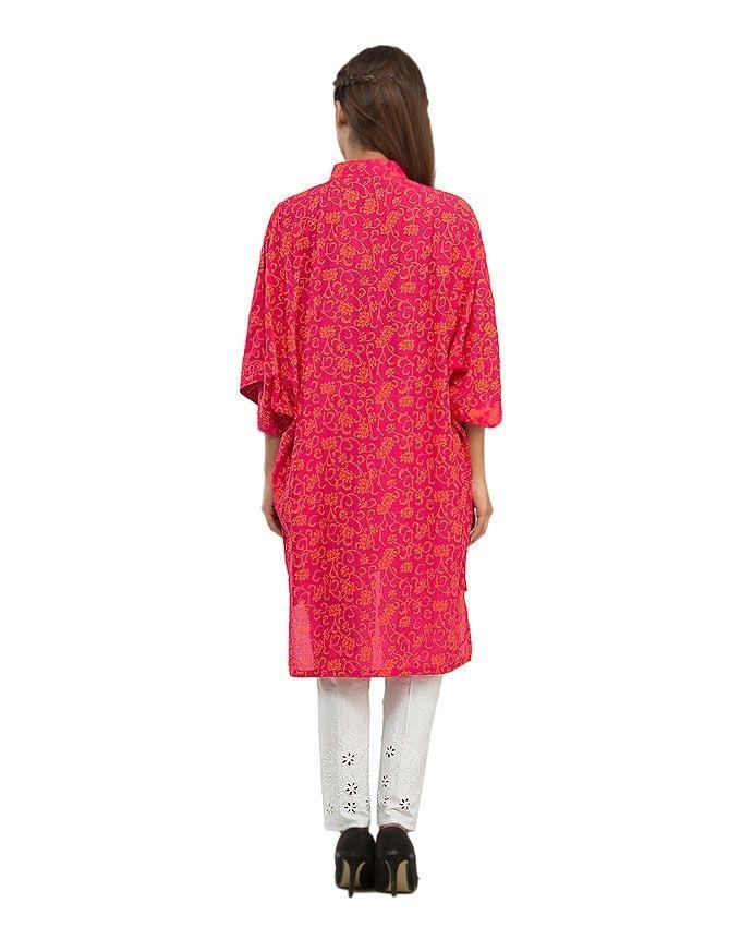 Pink Cotton Printed Poncho with Front Button for Women - 14140