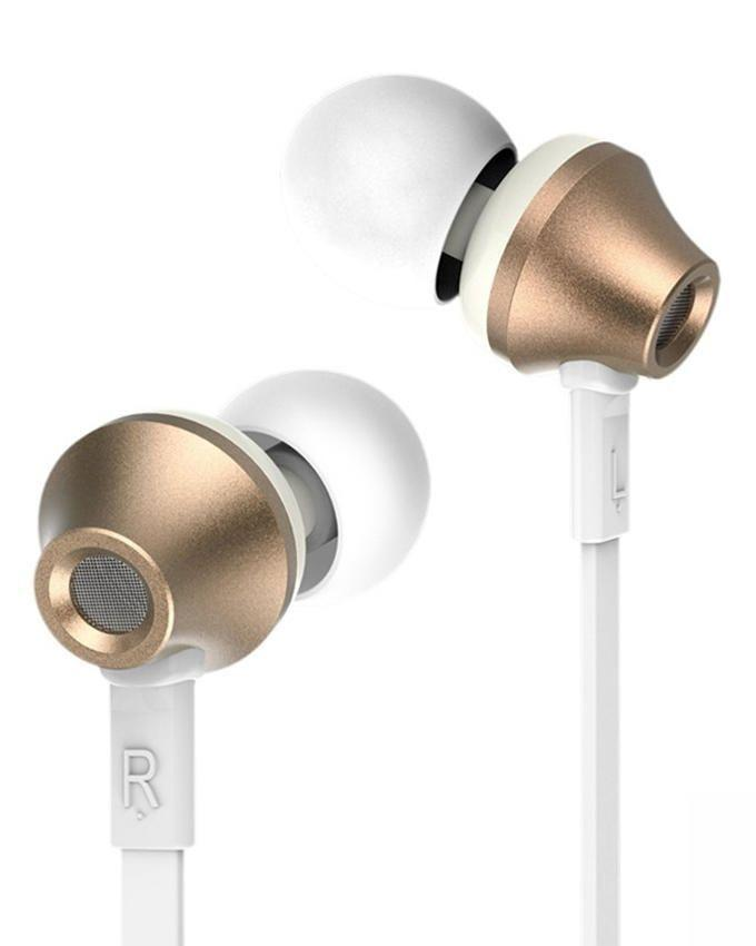 RM 610D in Ear Headset with Mic - White & Gold
