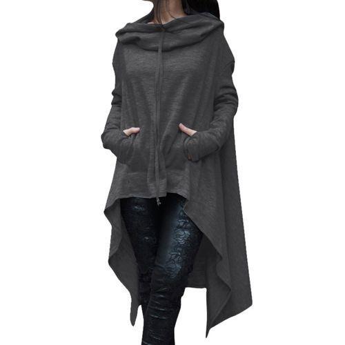 Women Long Sleeve Irregular Drawstring Solid Color Hooded Sweatshirt - Dark Grey