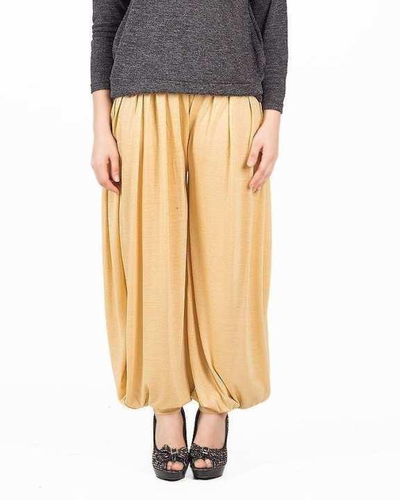 Beige Viscose Harem Pants For Women