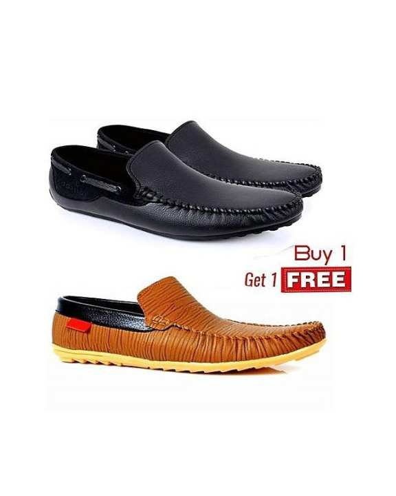 Pack Of Two Black & Brown Loafers For Men