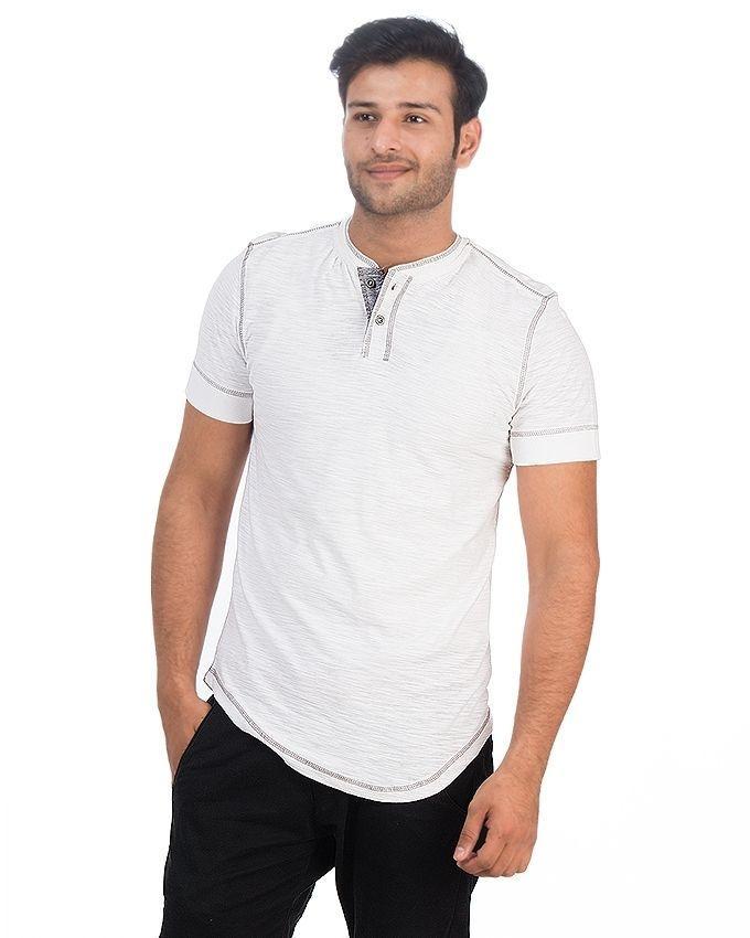 White Jersey Henley Shirt For Men - Tth-016