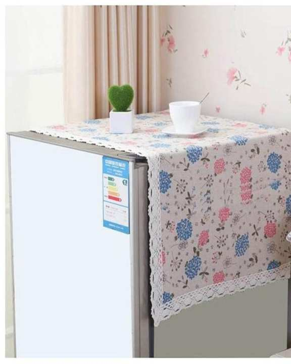 Home Fancy Fridge Top Cover Flower Printed - Multicolor