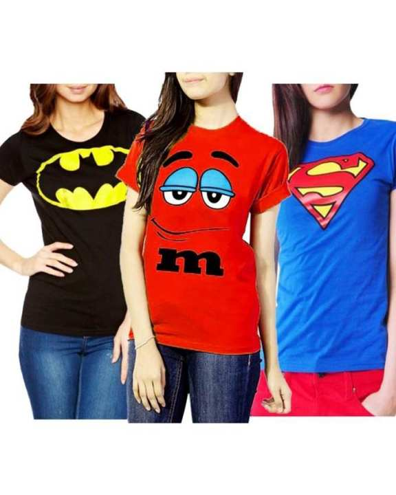 Pack of 3 - Multicolour Cotton T-shirts for Women