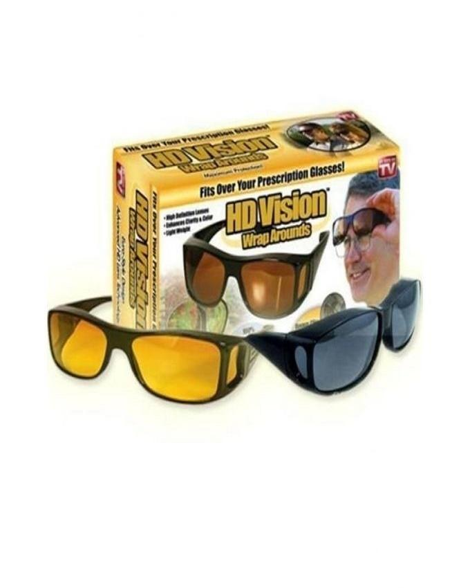 9e360a3d70d2d TL Pack of 2 - HD Night Vision   Day Glasses - Black   Yellow