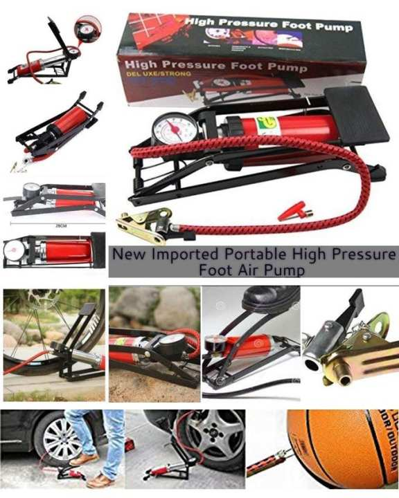 Portable High Pressure Heavy Compressor Foot Air Pump, Cylinder For Bike, Car, Cycles