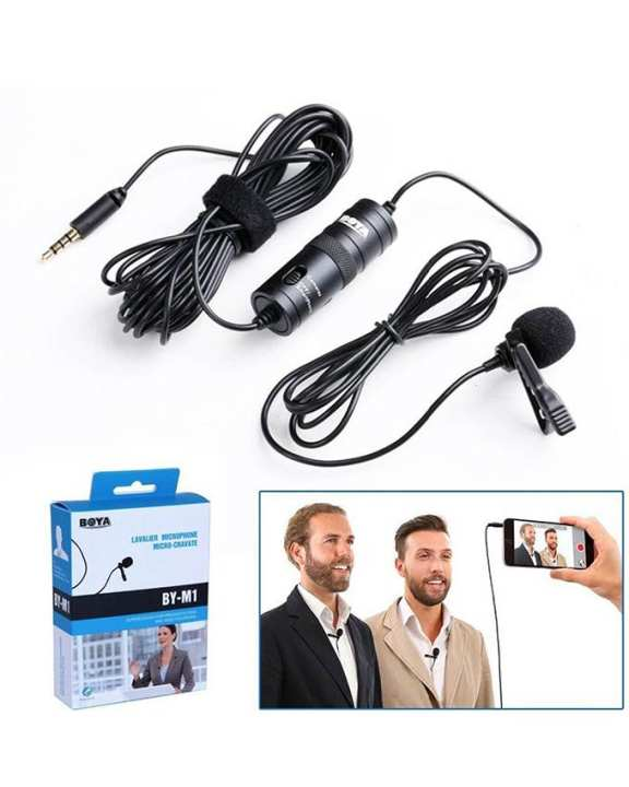 Boya Mic M1 Lavalier Collar Microphone for Canon Nikon DSLR Camcorder & Phone Android Iphone