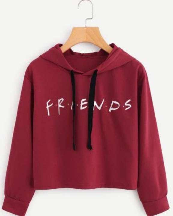 BRANDSTITCH - Maroon Printed Fleece Hoodie For Women