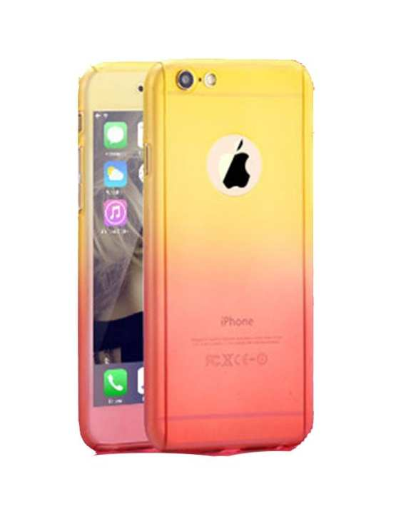 Full Protection Case with Screen Protection for Apple iPhone 6 Plus, 6s Plus - Yellow Red